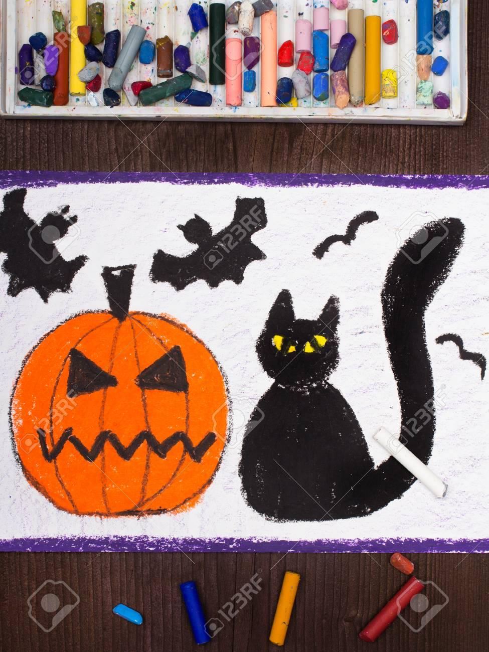 975x1300 Halloween Drawing Black Cat, Bad Pumpkin And Flying Bats Stock