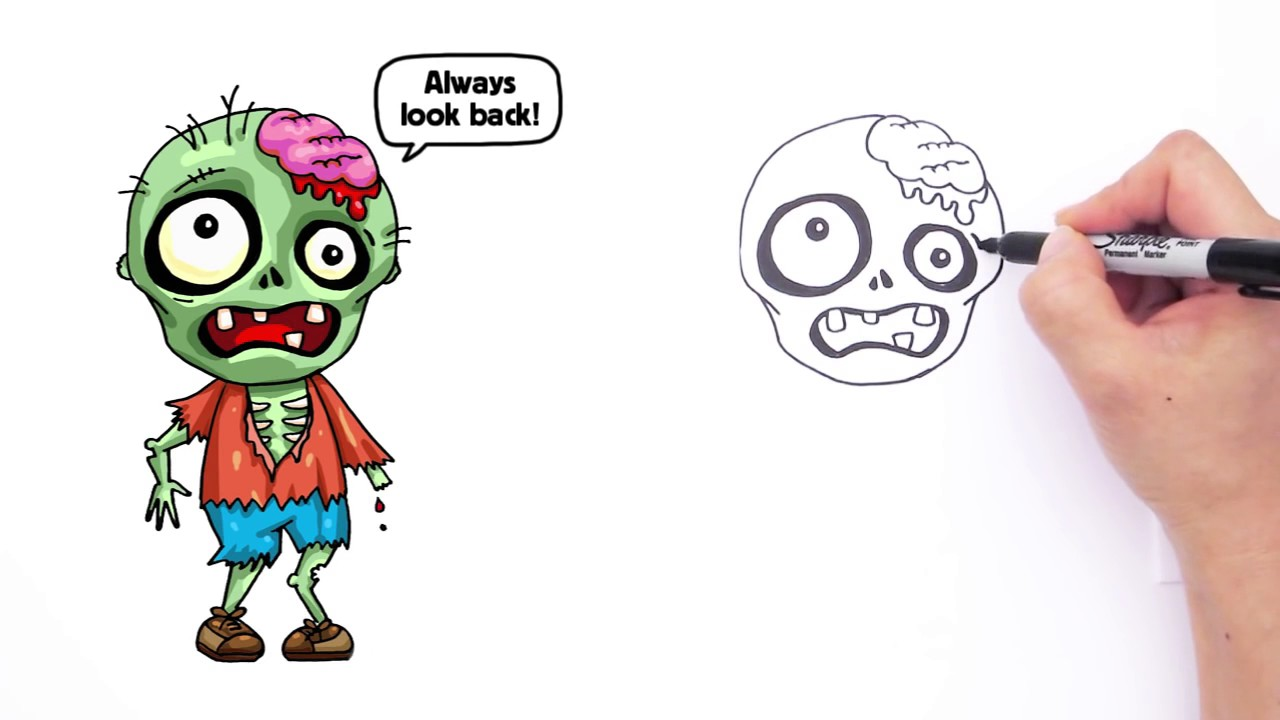 1280x720 How To Draw A Zombie Cute Step By Step Animated