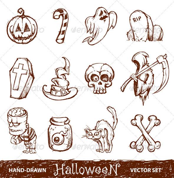 590x603 Vector Set Of Cute Hand Drawn Halloween Elements Hand Drawn
