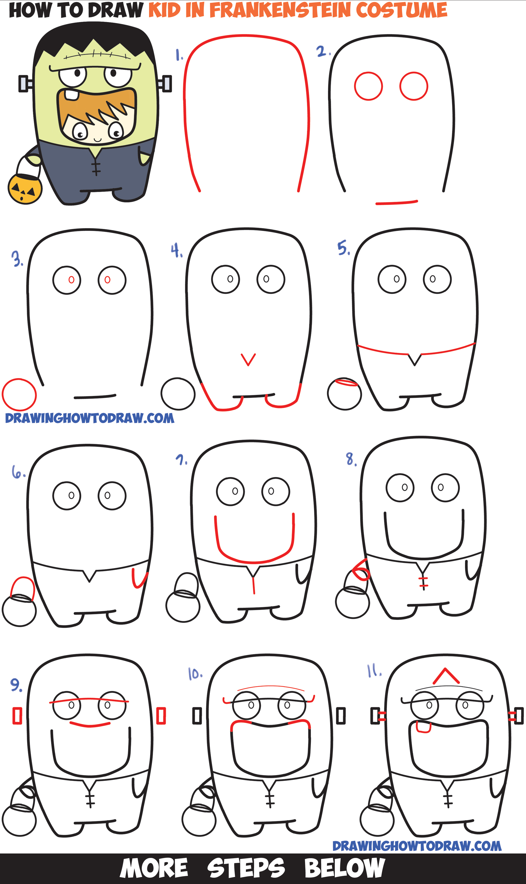 2000x3360 how to draw a kid in a halloween frankenstein costume cute kawaii - Halloween Drawing For Kids