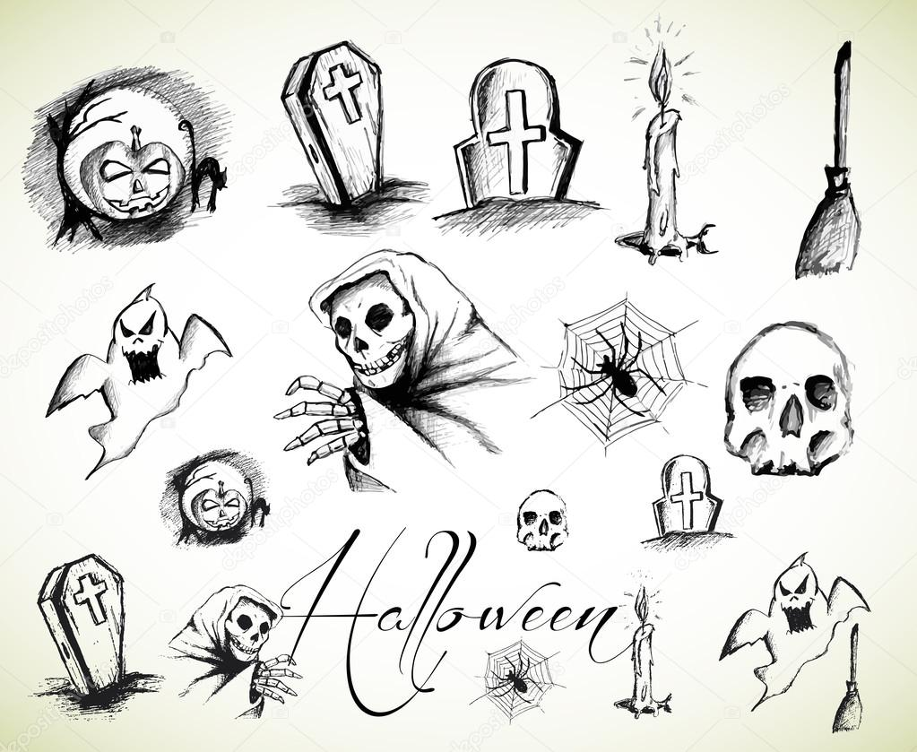 1023x839 Halloween Drawings Collection Stock Vector Lussoadv