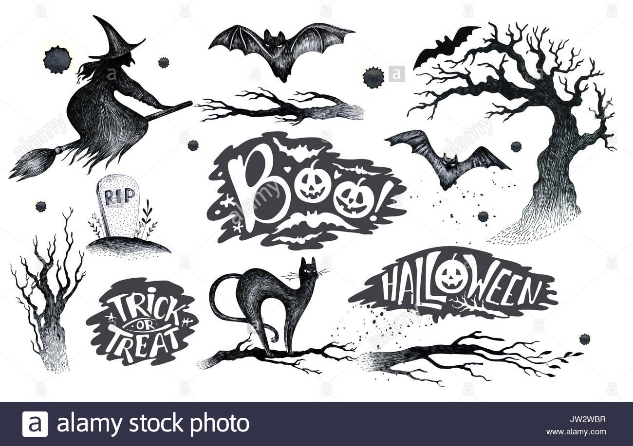 1300x917 Halloween Hand Drawing Black White Graphic Set Icon, Drawn