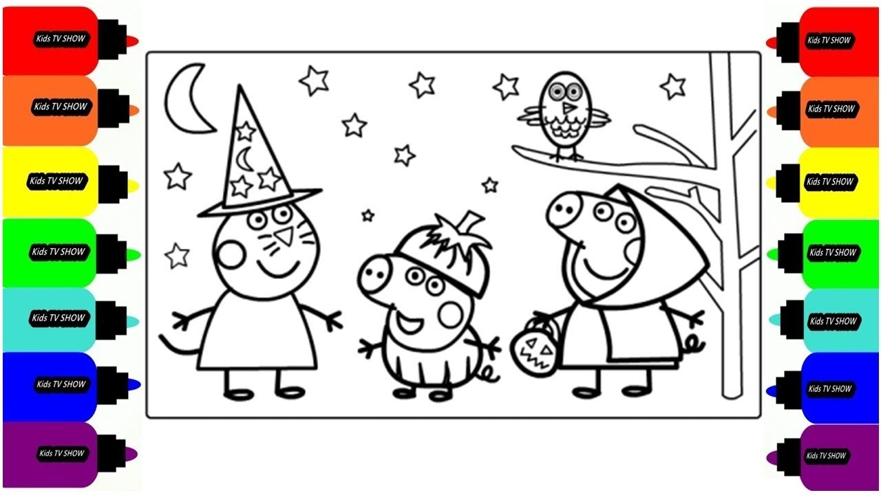 1280x720 Coloring Peppa Pig Goes To A Halloween Drawing Coloring Pages