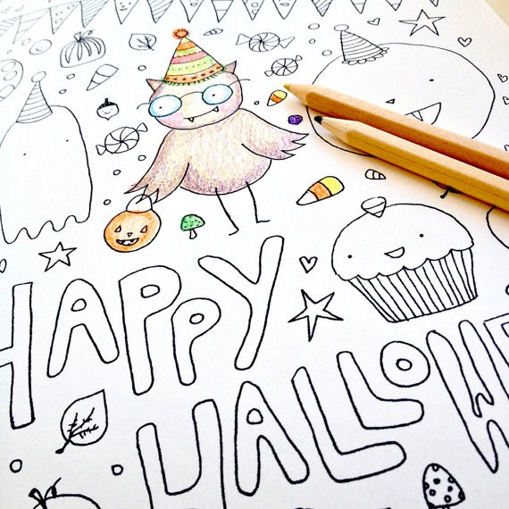 570x570 Halloween Coloring Page For Adults Or Kids