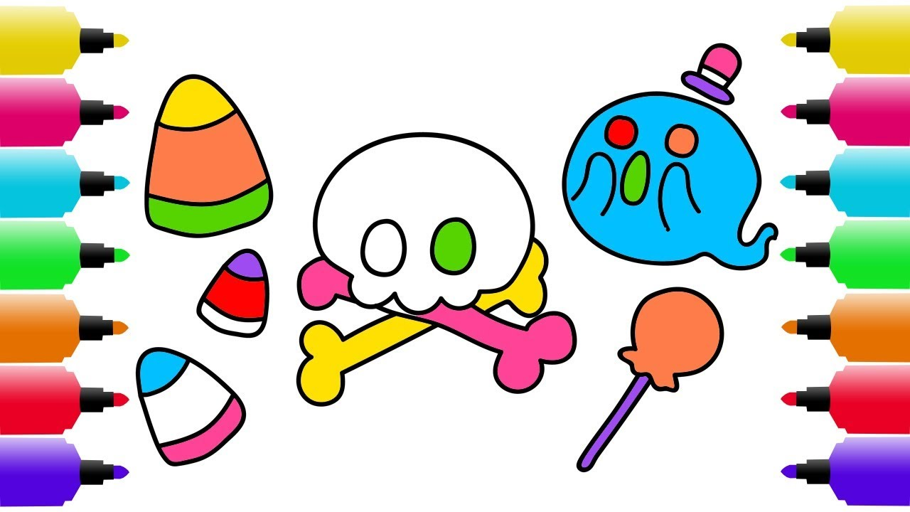 1280x720 Halloween Drawing, Coloring Pages For Kids How To Draw Ghost