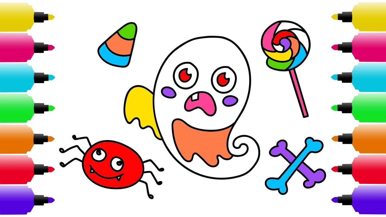 1280x720 Halloween Drawing, Coloring Pages For Kids How To Draw A Cute