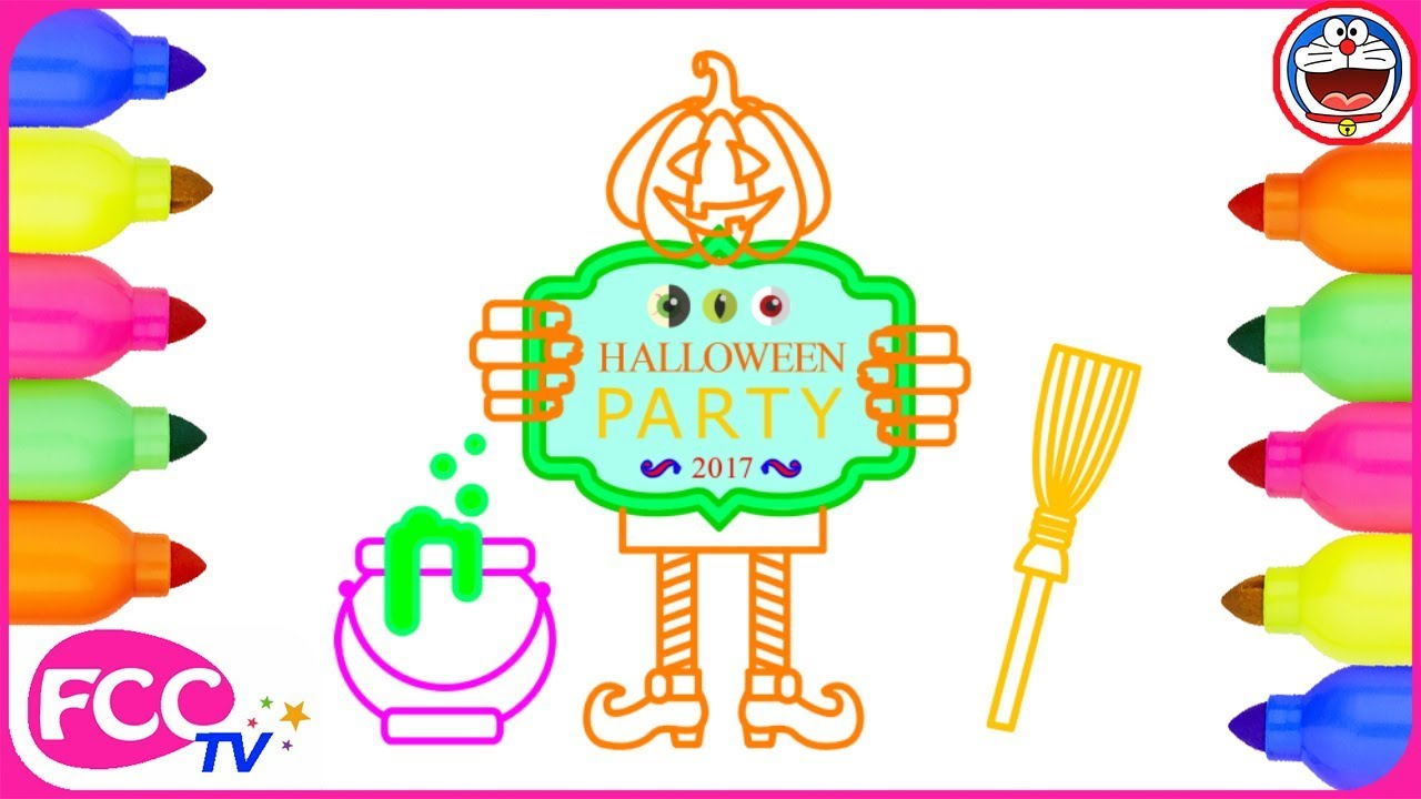 1280x720 Halloween Party Coloring Pages Drawing For Kids How To Draw