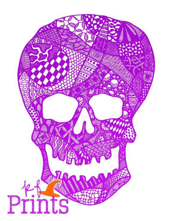 570x738 Purple Skull Zentangle Halloween Drawing Spooky Decor By Kfprints