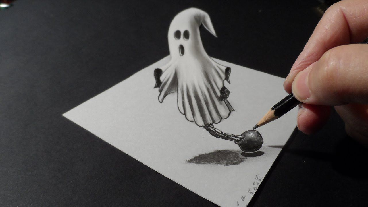 1281x721 Drawing A 3d Ghost, Halloween Art Journals, Tags, And Cards