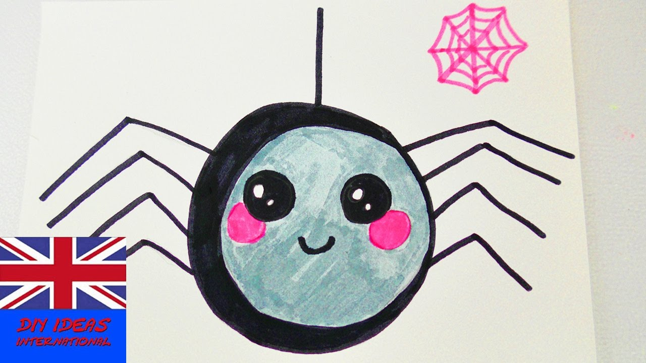 1280x720 How To Draw A Kawaii Spider For Halloween Cute Spider As