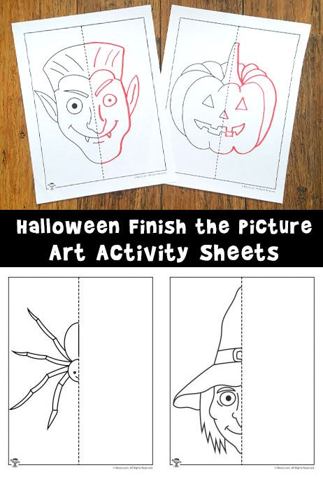 462x682 6 Halloween Themed Finish The Picture Drawing Printables For Kids