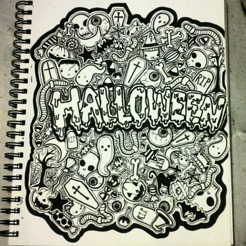 500x500 Full Page Doodle Halloween Themed By