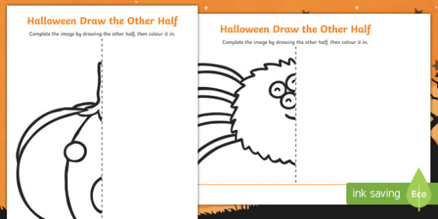 630x315 Halloween Themed Draw The Other Half Worksheet Activity Sheet