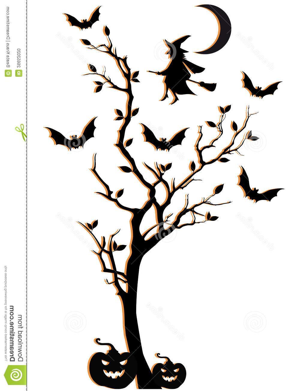 1000x1300 Best Halloween Tree Vector Background Drawing