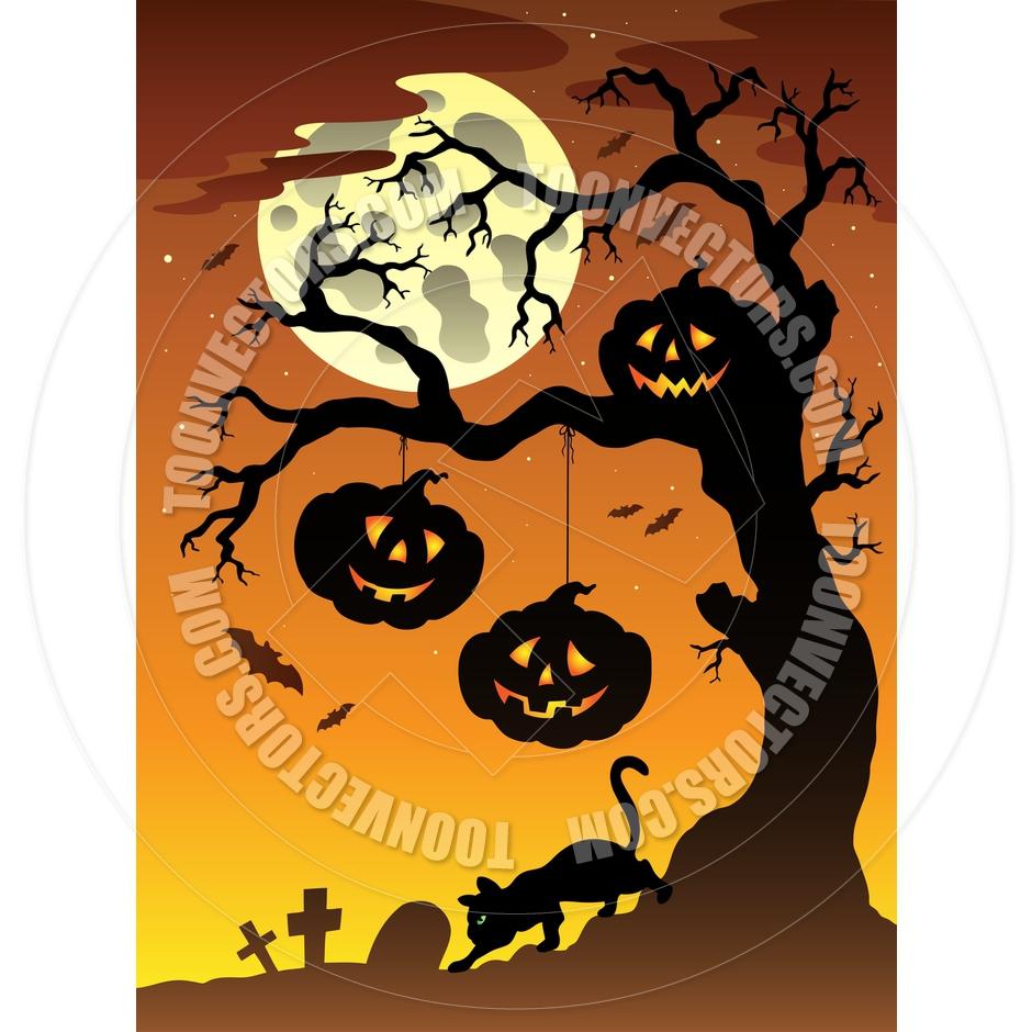 940x940 Cartoon Scene With Halloween Tree By Clairev Toon Vectors Eps