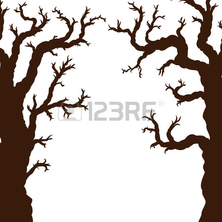 450x450 Hand Drawn Doodle Halloween Tree. Black Pen Objects Drawing