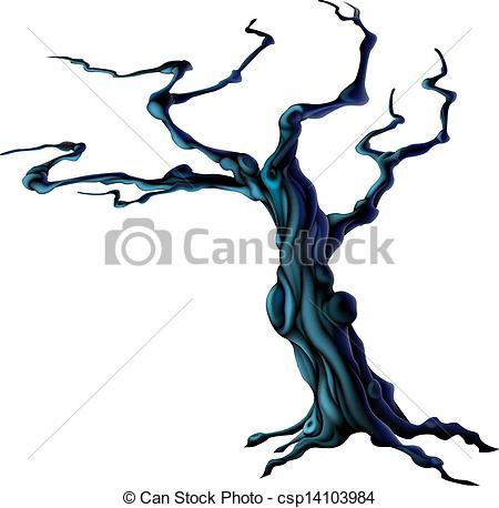 450x458 Spooky Halloween Tree. An Illustration Of A Bare Spooky Vector