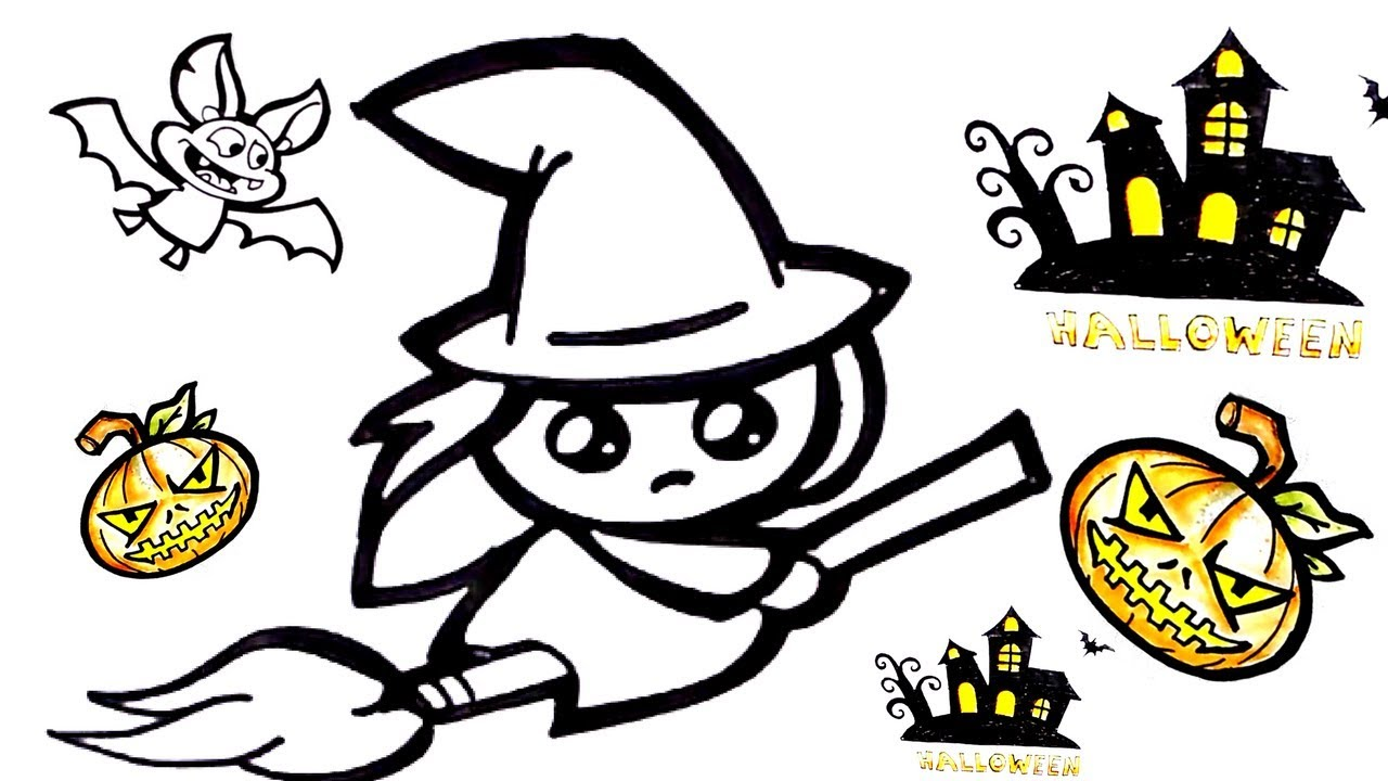 1280x720 Halloween Cute Witch Drawing How To Draw Cute Witch
