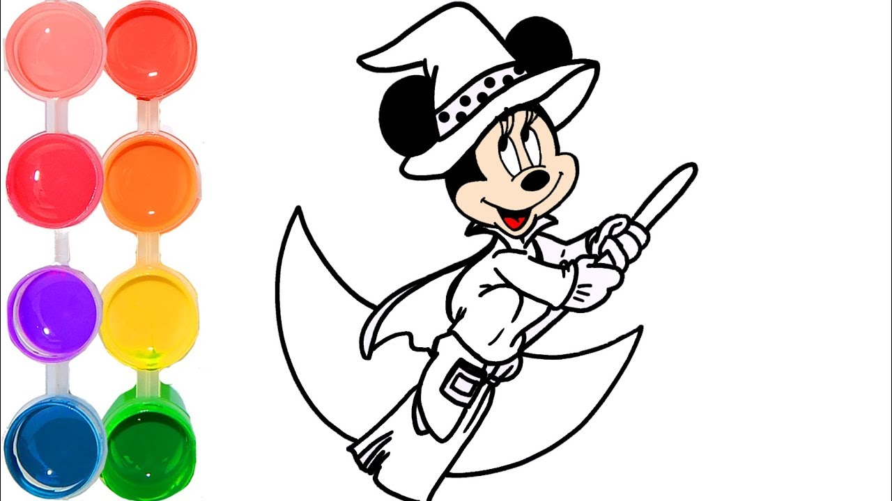 1280x720 How To Draw Amp Color A Minnie Mouse Witch Drawing Tutorial