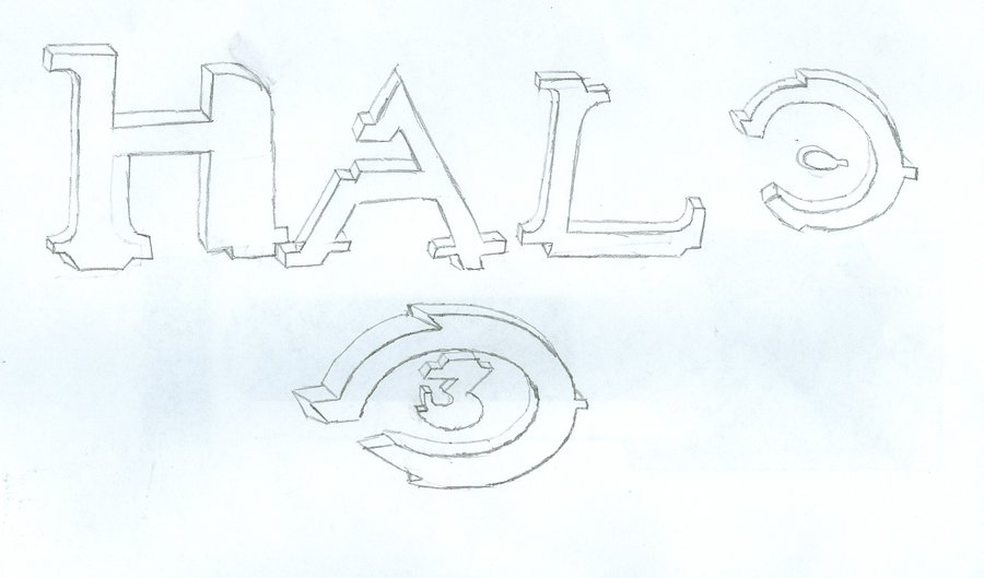 900x529 3d Halo 3 Logo Drawing By Xionsmist