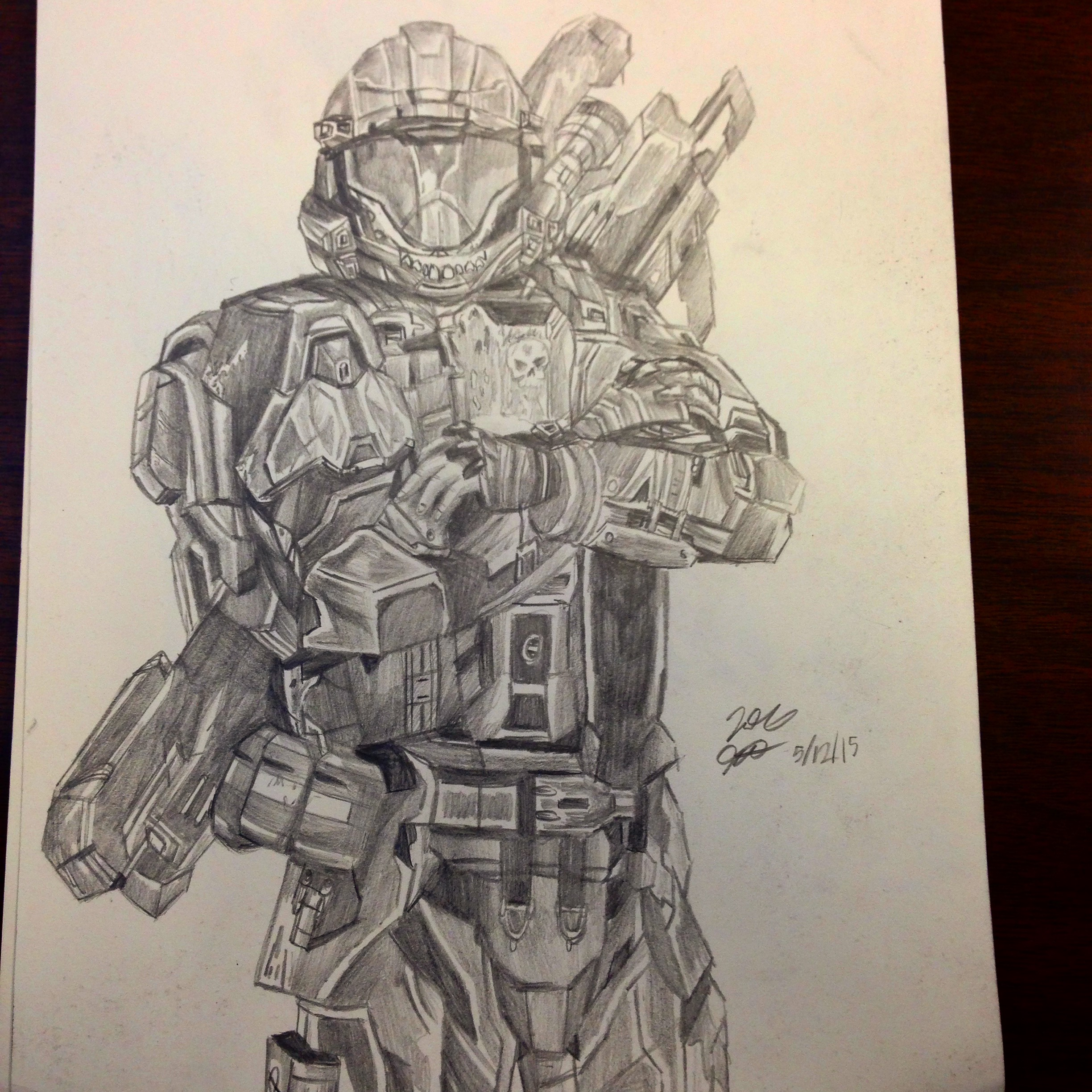 2448x2448 My Drawing Of Dutch From Halo 3 Odst Halo