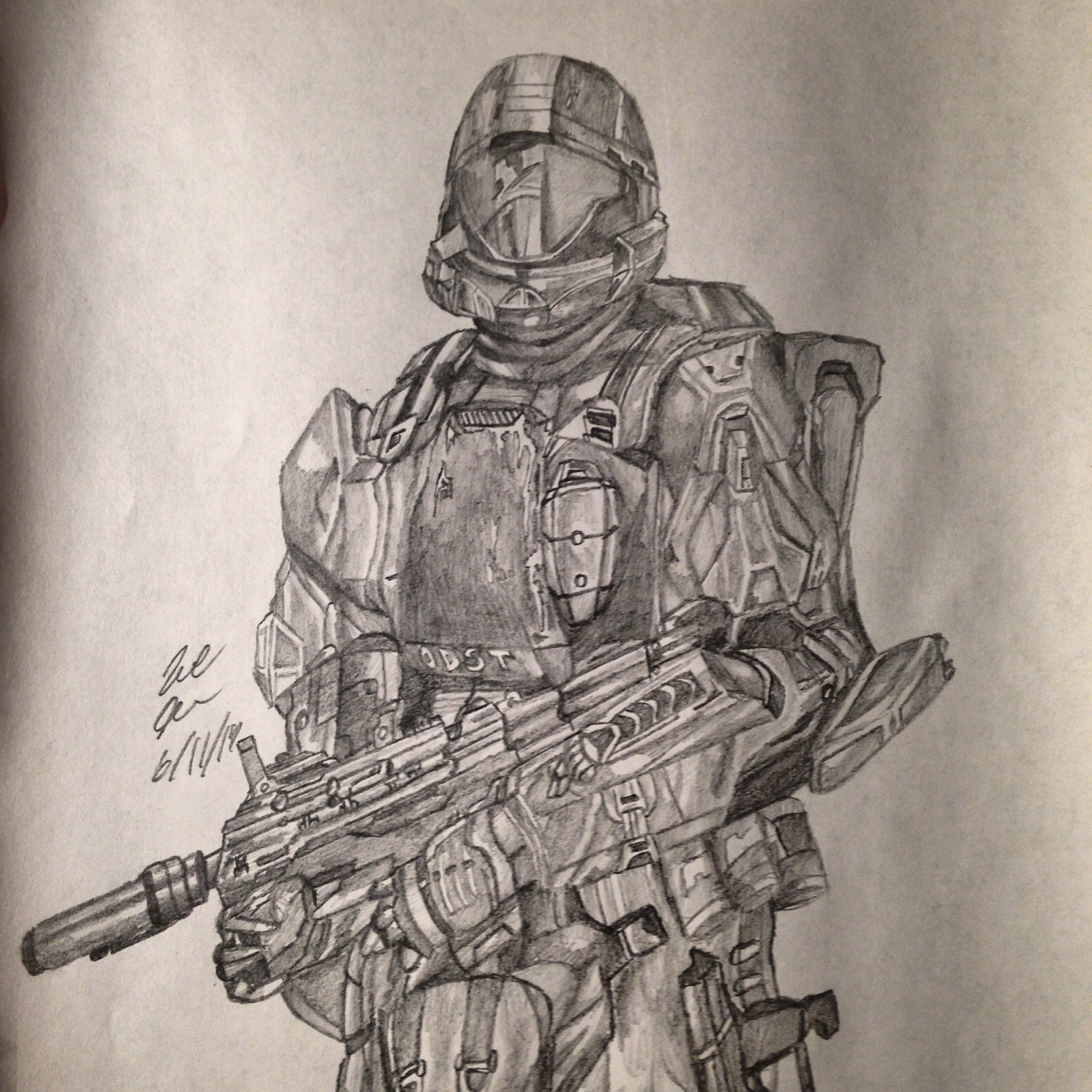 2448x2448 My Drawing Of Rookie From Halo 3 Odst Halo