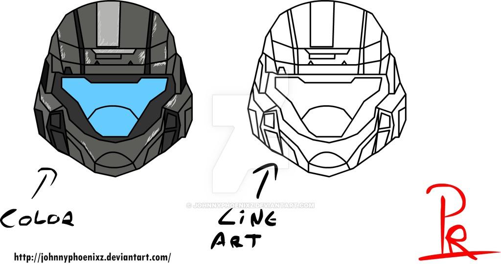 1024x539 Odst Helmet Colorw Line Art By Johnnyphoenixz