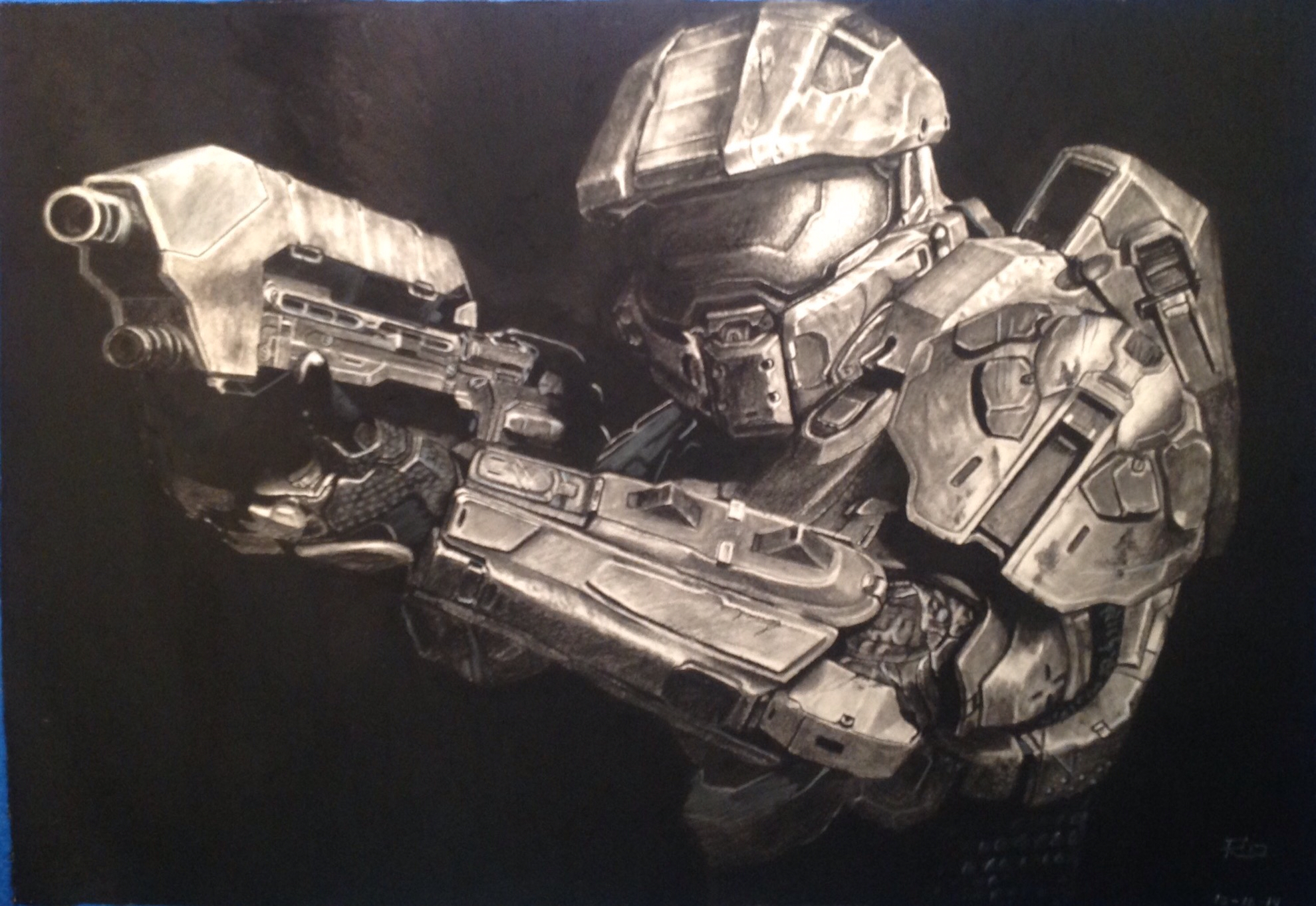1979x1363 Charcoal Master Chief Drawing