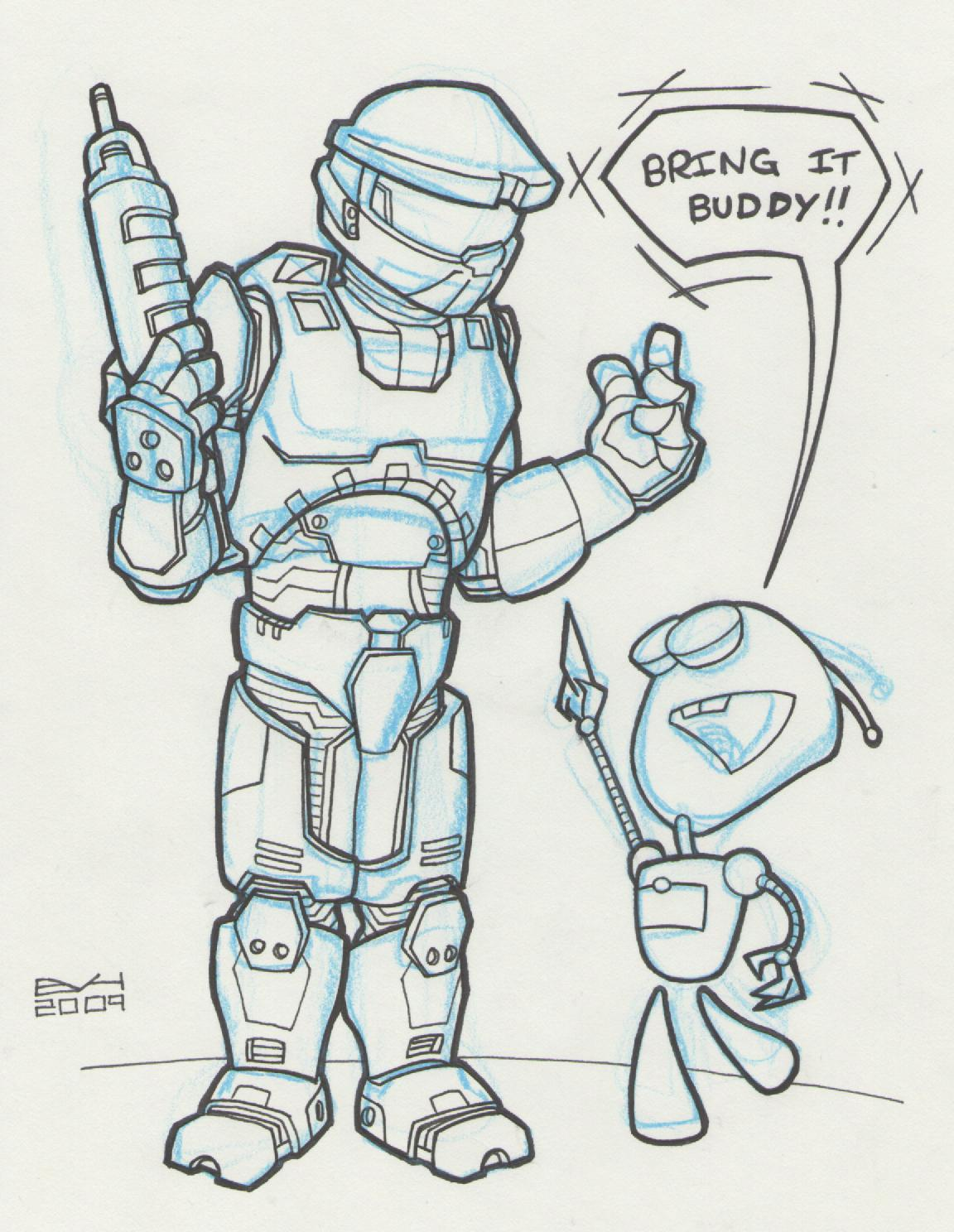 1152x1488 Doodle 282 Master Chief And Gir Doodle A Day