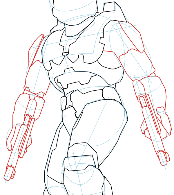 600x671 How To Draw Master Chief From Halo In Step By Step Drawing