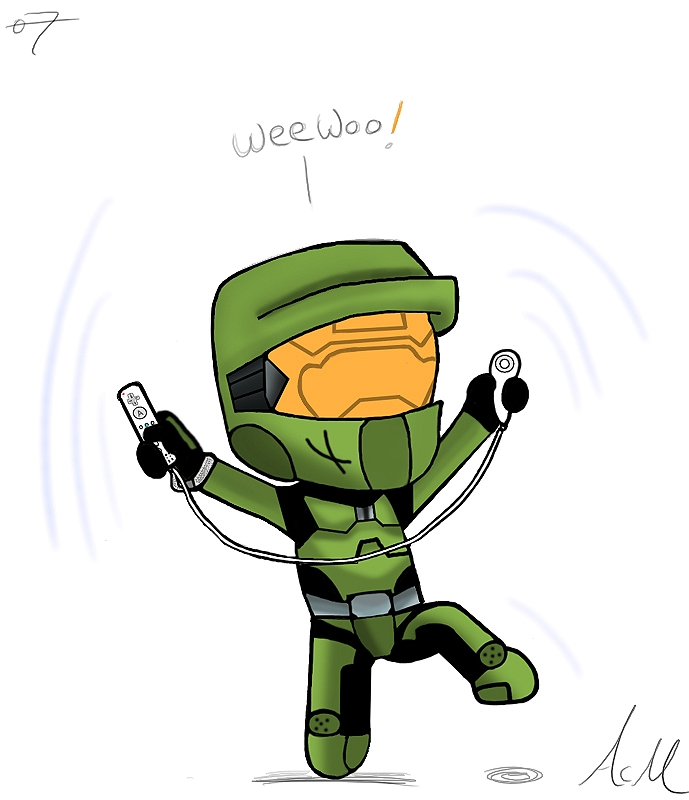 689x800 Master Chief Playing Wii By Saxche