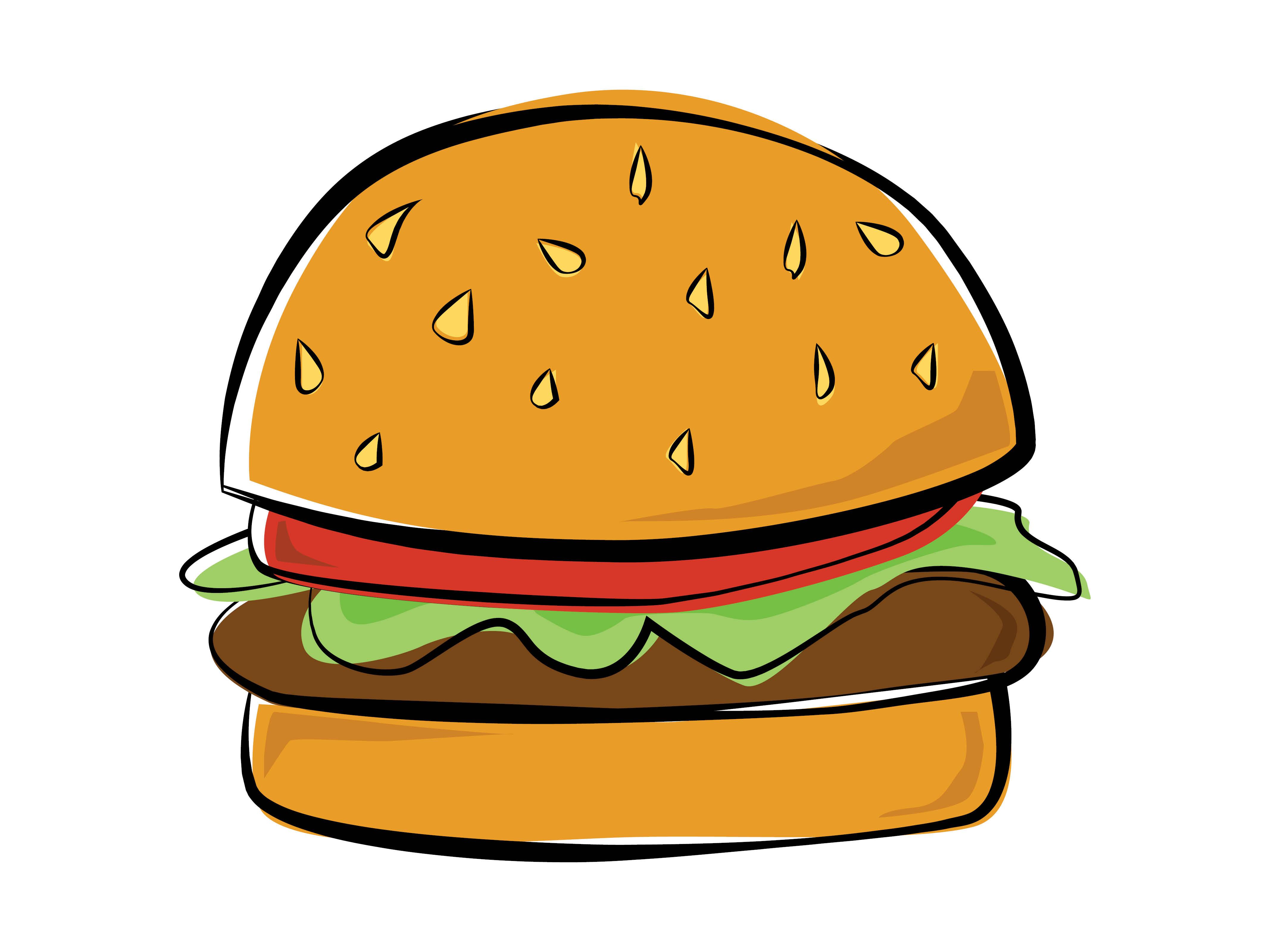 4267x3200 Drawing Of A Burger Simple Hamburger Drawing