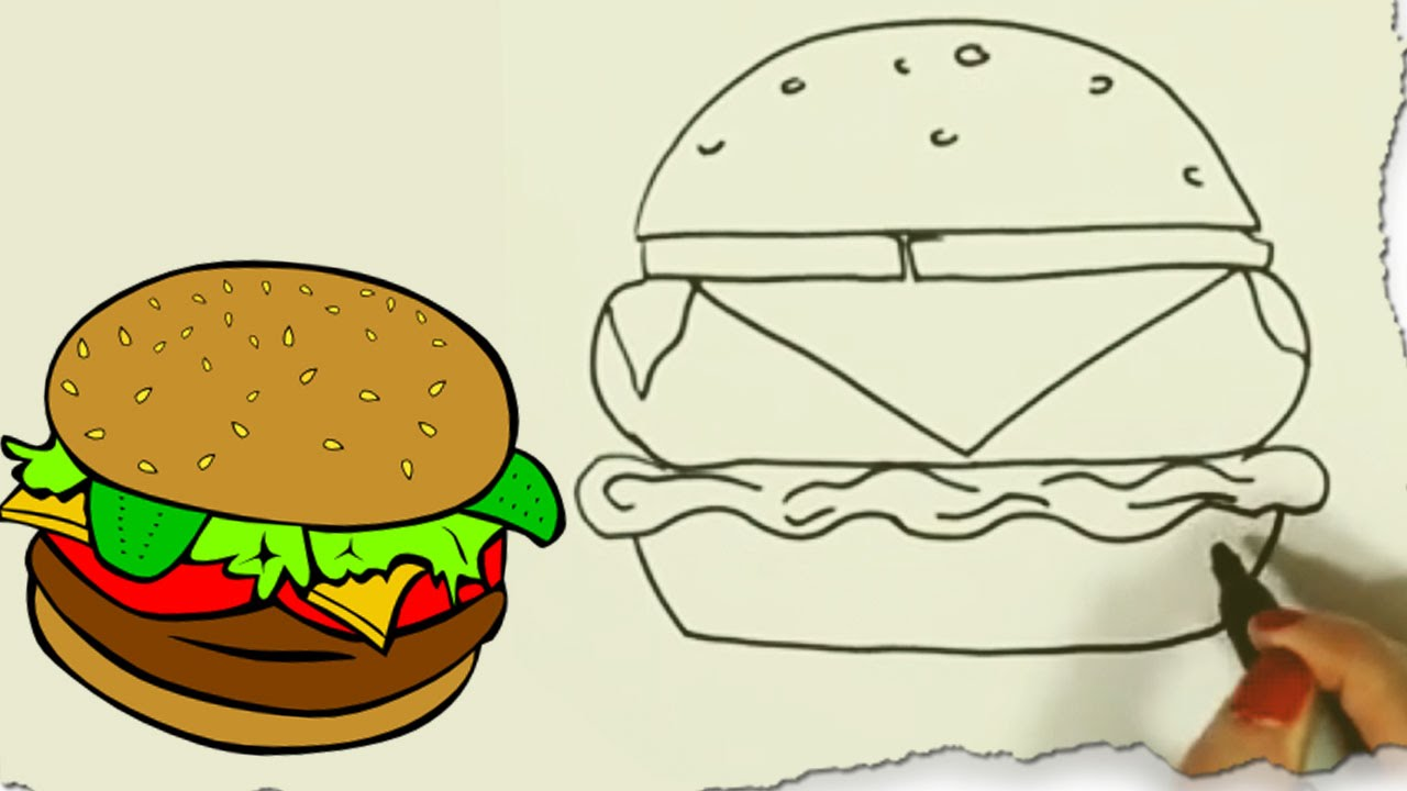 1280x720 How To Draw A Hamburger By Hooplakidz Doodle Drawing Tutorial