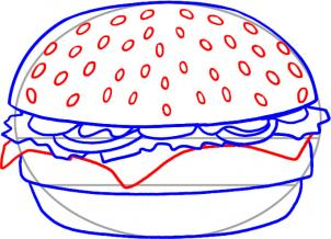302x218 How To Draw How To Draw A Hamburger
