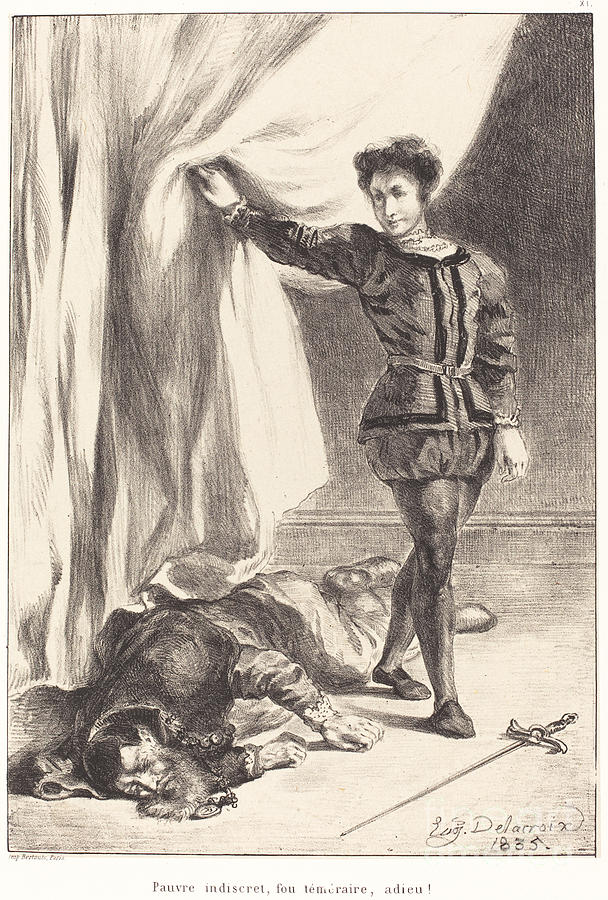 608x900 And The Body Of Polonius (Act Iii, Scene Iv) Drawing By Eugne