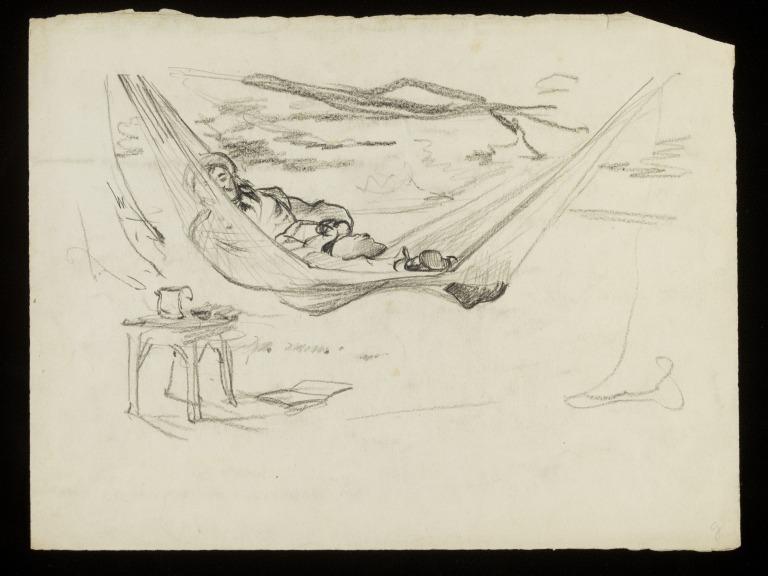 768x576 A Man Lying In A Hammock Fildes, Samuel Luke Kb, Kcvo, Ra (Sir