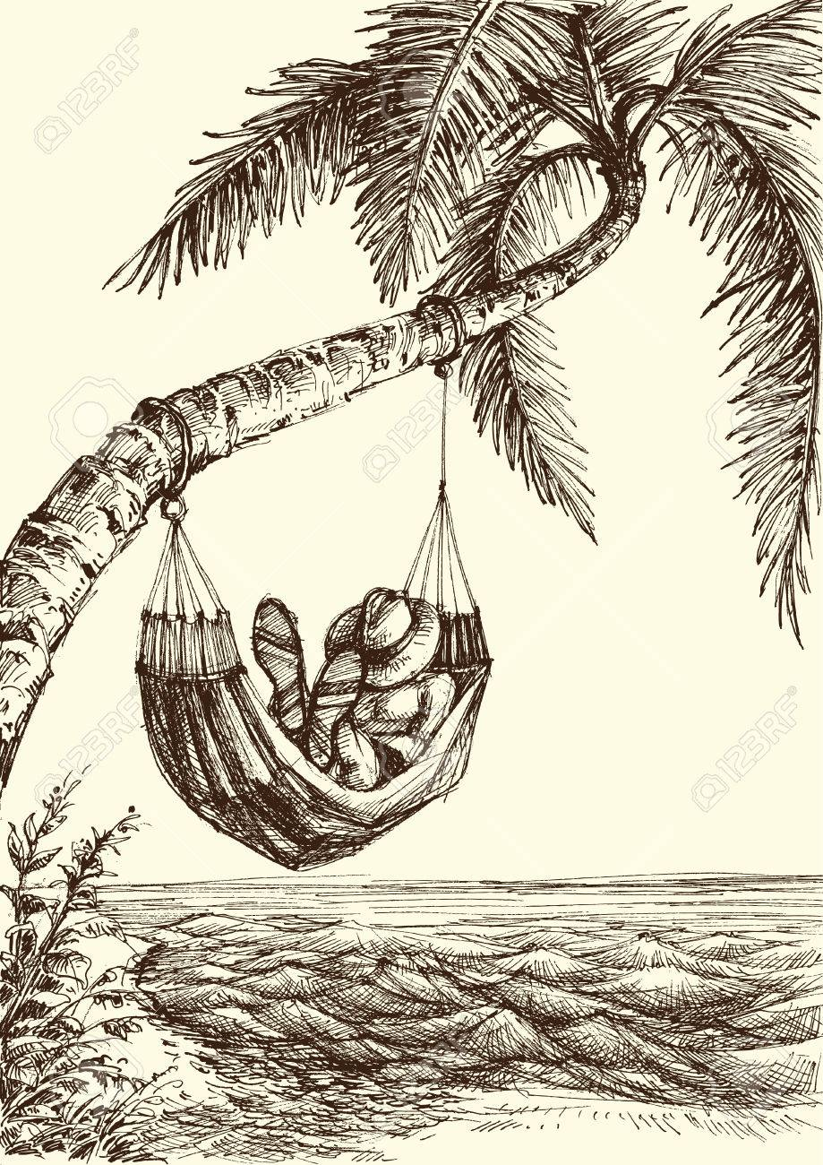 919x1300 Beach Vector Illustration, Palm Tree And Hammock Sea View Royalty