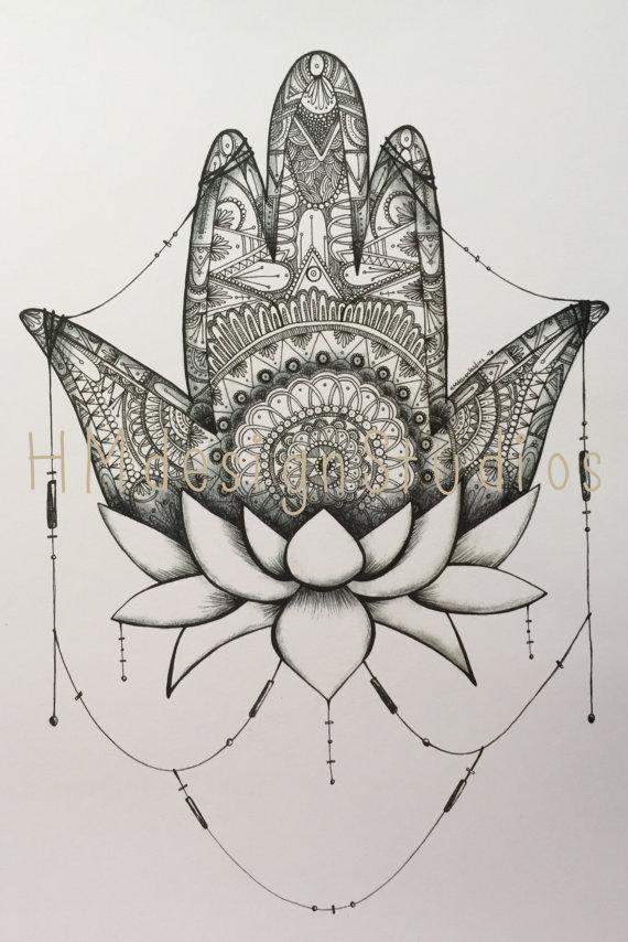 570x854 Hamsa Drawing Black Amp White Print Yoga Art By Haylee