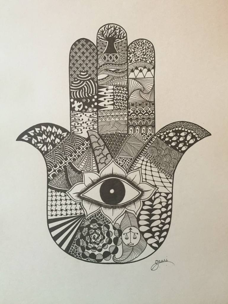 770x1027 Saatchi Art Hamsa Drawing By Gauri Arora
