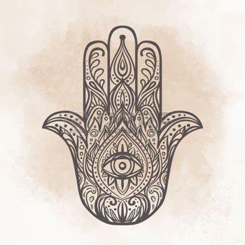 350x350 Drawing Hamsa Ornate Hand Drawn Hamsa. Popular Arabic And Jewish