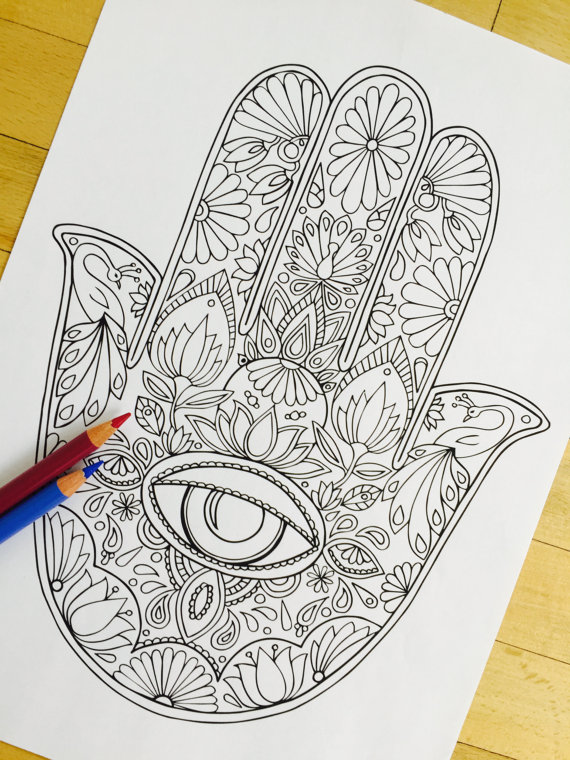 570x760 Hamsa Eye Hand Drawn Adult Coloring Page Print