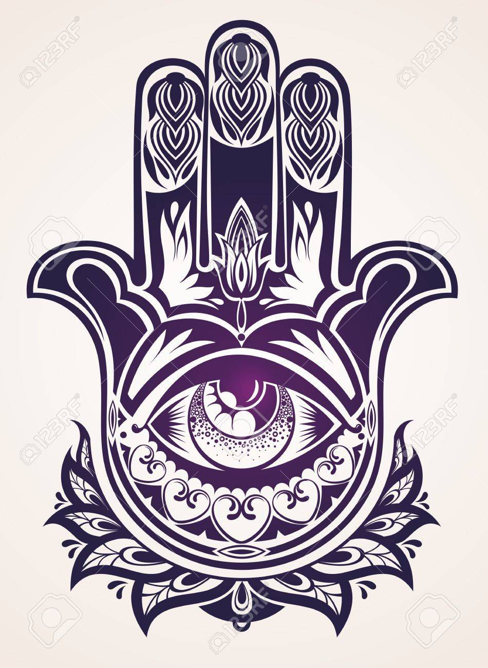 950x1300 Hand Drawn Ornate Amulet Hamsa Hand Of Fatima Royalty Free