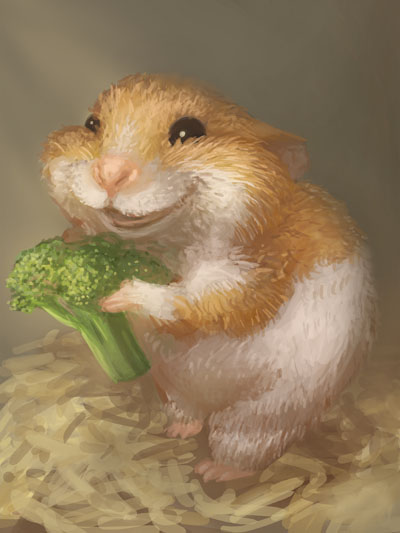 400x533 Hamster That Totally Likes Broccoli By Momori