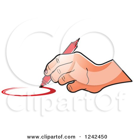 450x470 Clipart Of A Hand Drawing A Circle With A Red Marker Pen
