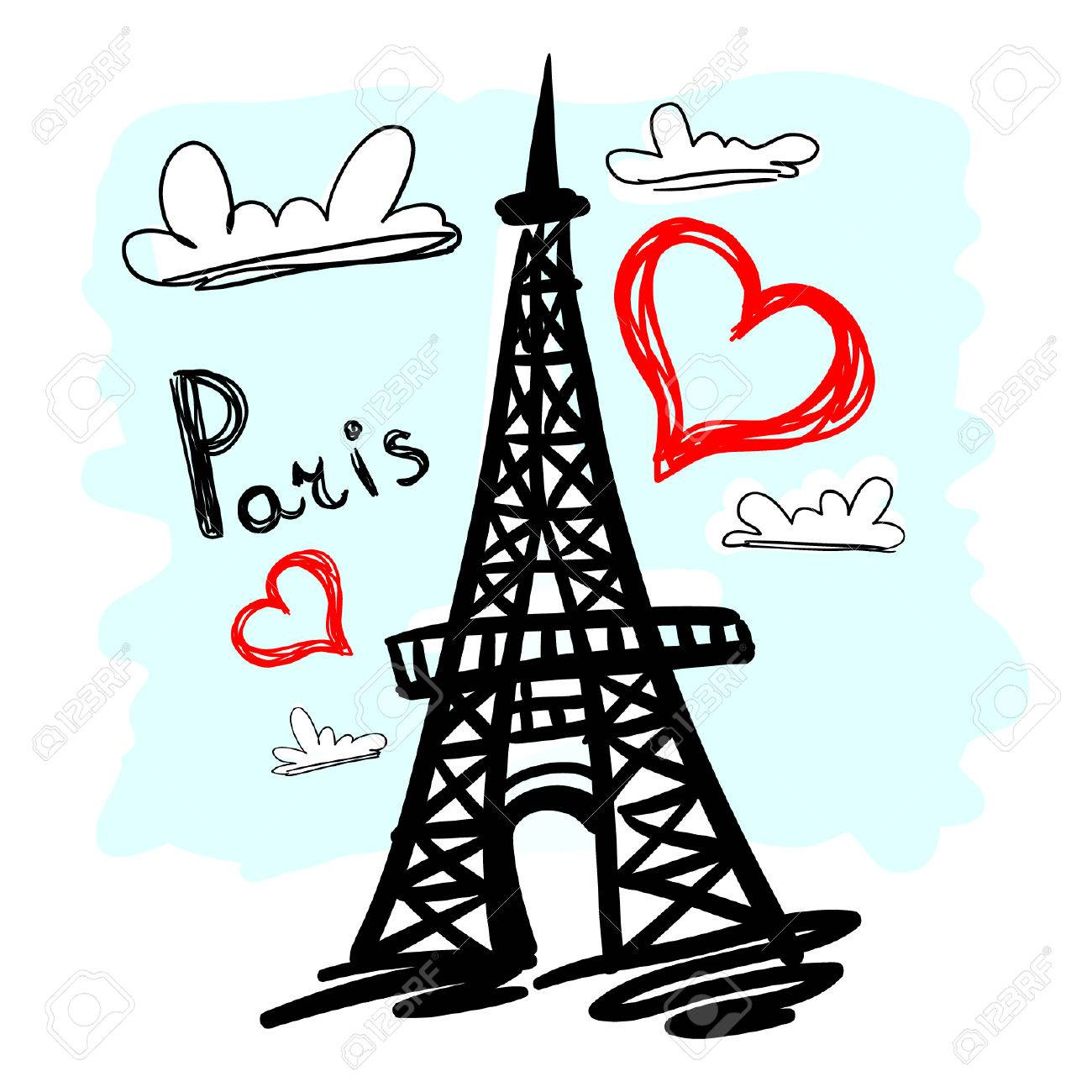 1300x1300 Hand Drawn Eiffel Tower Royalty Free Cliparts, Vectors, And Stock