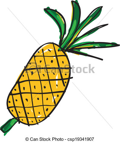 397x470 Hand Drawn Pineapple On White Backgound Vector Clipart