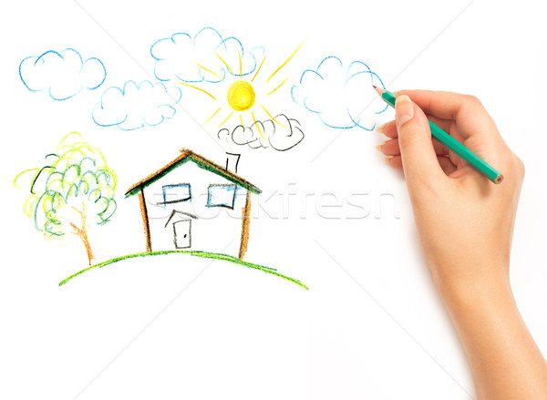 600x439 woman39s hand drawing the dream home stock photo â vladyslav