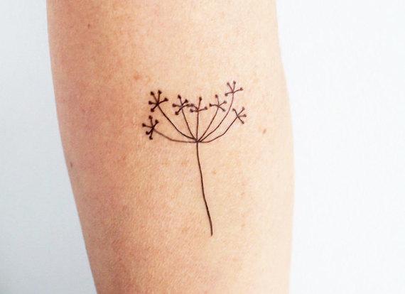 570x414 3 Hand Drawing Flower Temporary Tattoos Minimalist Floral