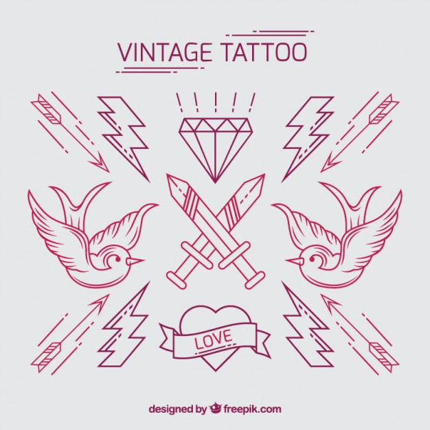 626x626 Pack Of Vintage Hand Drawn Tattoos Vector Free Download