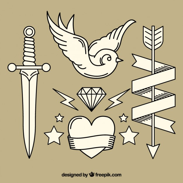 626x626 Variety Of Vintage Hand Drawn Tattoos Vector Free Download